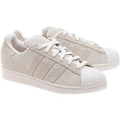 ADIDAS ORIGINALS Superstar Suede Chalk // Suede leather sneakers (1,970 MXN) ❤ liked on Polyvore featuring shoes, sneakers, flat shoes, adidas originals trainers, perforated sneakers, flat sneakers and champagne shoes