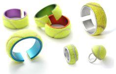 Tennis ball jewelry by German designer Elke Munkert  #upcycled