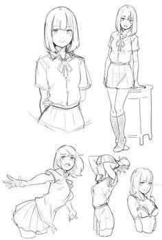 Drawing poses, manga school, anime school girl, anime girls, anime poses re Manga Drawing, Figure Drawing, Manga Art, Drawing Sketches, Manga Anime, Drawing Tips, Female Drawing Poses, Anime Art, Drawing Ideas