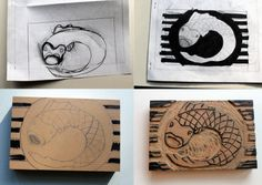 #52 - Linoleum block print   365 Days of Art & Creativity  www.becreativemary.com