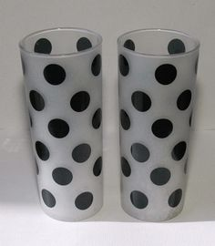 Vintage Polka Dot Drinking Glasses By Copperpennyvintage