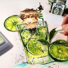 """Makoto Tonic Summer Splash *>°<* #free #freeiwatobi #freeeternalsummer #makototachibana #makoto #kawaii #cute #summer #cocktail #chibi #nashi #naschi"""