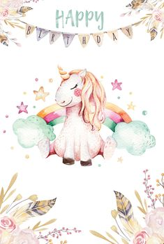 Birthday unicorn / Artistic postcards / Postcards / Postallove - postcards made with love