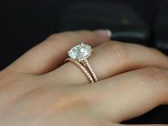 Blake Rose Gold Oval FB Moissanite and Diamonds Cathedral Wedding Set