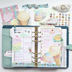 Ice cream themed pages  Sticky notes available in the shop #planner #plannerlove…