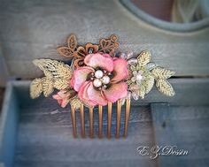 Pink embroidered Flower Bridesmaid Vintage hair accessories Bridal Hair Piece flower Wedding Hairpiece flower brooch bridal hair jewelry by emeliebeads. Explore more products on http://emeliebeads.etsy.com