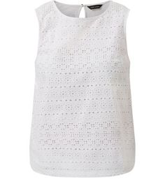 White Cotton Crochet Front Sleeveless Top