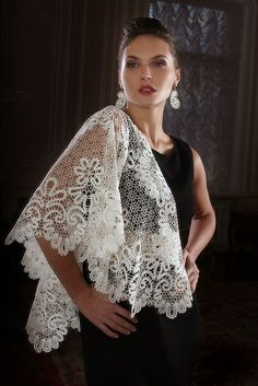 Bobbin lace from the Russian town of Vologda. A shawl. #Russian #lace