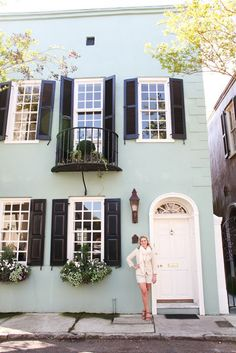 """Minty blue house with black shutters and white trim; Try Pittsburgh Paint's """"Black Magic"""" for a similar look. Love the shiny black shutters Exterior Paint Colors, Exterior House Colors, Paint Colors For Home, Exterior Design, Paint Colours, Black Exterior, Exterior Shutters, Cottage Exterior, Modern Exterior"""