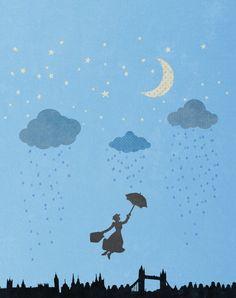 mary poppins... disney.. nursery.. digital illustration.. download