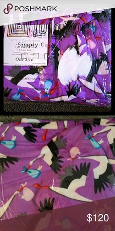 Lularoe Rare Unicorn OS Storks Delivering Babies These Lularoe stork leggings on a purple background are the cutest! The perfect gift for a baby shower, delivery nurse, obstetrician, midwife, or doula. Black and white storks carrying sweet pink and blue bundles. LLR leggings can be used for maternity because they're so stretchy, but these are One Size and fit up to a size 12, so think accordingly. I tried to take a sticker off the front of the bag so they'd photograph better, but that was a…