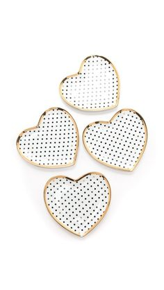 so sweet! perfect for dessert or valentine's day ... // gold and polka dot heart dishes by c.wonder