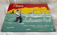Porcelain Tackle Fish enamel Sign 10x3 Inches