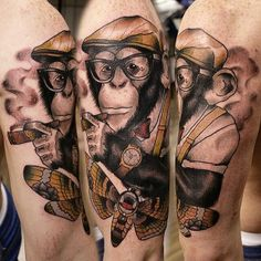 monkey tattoos Archives - The Lads RoomThe Lads Room Future Tattoos, Tattoos For Guys, Monkey Pictures, Monkey Tattoos, Cigar Art, Cool Tats, Family Tattoos, Skull Makeup, Tattoo Trends