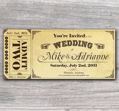 Vintage Ticket Save the Date or Wedding