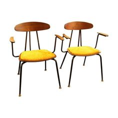 1950s French Armchairs in Yellow Velvet - A Pair