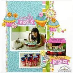 Doodlebug Design Inc Blog: Chunky Twine Challenge: Candy Kisses Lollipop Layout by Mendi Yoshikawa