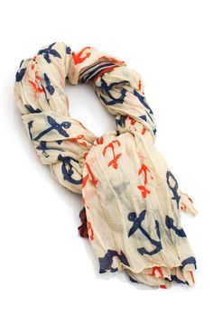 Wind Over Waters Anchor and Stripe Print Scarf
