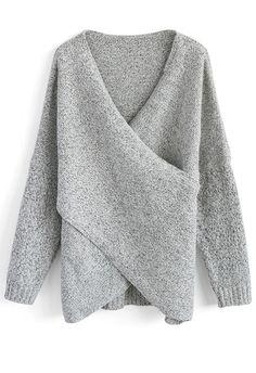 Stylish Essence Crossed Wrap Knit Top. Autumn Fashion ... 082f385b7