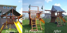 DIY playground canopy makeover. Very excited about this tutorial.  We have been looking at used play structures and I have often wondered about this (replacing the ugly standard canopy) myself.