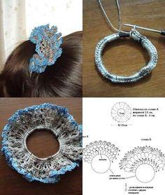 Tina's handicraft : gadget - New Ideas Crochet Hair Bows, Crochet Summer Hats, Crochet Hair Accessories, Crochet Hair Styles, Diy Crochet, Crochet Crafts, Crochet Clothes, Crochet Flowers, Crochet Projects