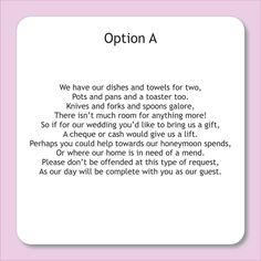 Wording For Wedding Invitations Asking Money