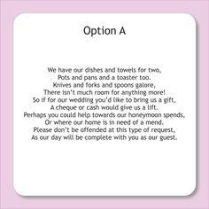 Wording For Wedding Invitations Asking Money