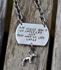 Pit Bulls Aren't My Whole Life Handstamped by PawsitivelyPurrfect1, $30.00