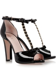 REDValentinoChain-trimmed patent-leather sandalsfront