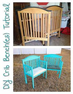 """I actually """"discovered"""" the concept of crib benches on Pinterest a few years ago, but cribs, even old cruddy ones, are pricey! But sinc..."""