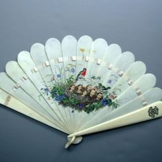 Rare Antique Victorian Ivory Fan Hand-painted w. applied photos of Children