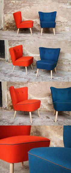 Paire de fauteuils cocktails orange et bleu canard années 60, rénovés et relookés