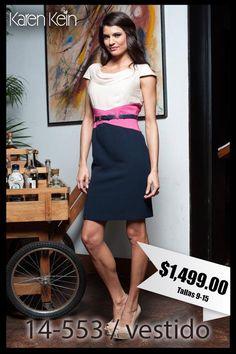 Bonito vestido con gran combinación en colores vibrantes.