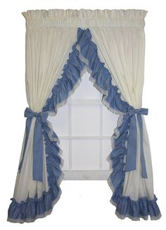 Madelyn Victorian Ruffled Priscilla Window Curtains with Lace Edging and Bow Tie Backs - Window Toppers Victorian Era Dresses, Victorian Fashion, Ruffle Curtains, Window Curtains, Priscilla Curtains, Painting Appliances, Window Toppers, Sage Color, Curtain Styles