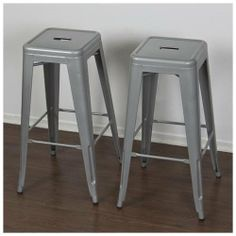 Metal Bar Stools Set of 2 Vintage Antique Style Counter Bar Stool Modern French