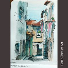 Sketch of Escadas do Barredo. A staired alley that runs basically from the Douro river all the way up to the Porto Cathedral in Porto Portugal  #landscape #art #original #watercolor #winsorandnewton #watercolour #painting #paintingaday #penandink #waterbr