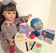 """Holiday SCHOOL Supply SET for American Girl Doll and other 18"""" DOLLS."""
