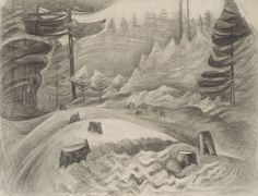 Untitled, 1929-1930 charcoal. Emily Carr. [logged clearing] VAG 42.3.137 Canadian Painters, Canadian Artists, Franklin Carmichael, Vancouver Art Gallery, Tom Thomson, Emily Carr, Group Of Seven, National Art, Visual Aids