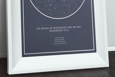 custom star map: the sky, where you were, on a special occasion.