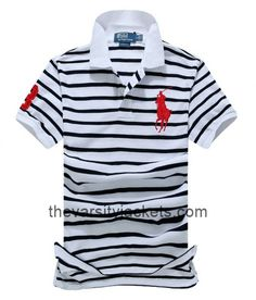 WhiteBlackRed Mens Ralph Lauren Polo Stripe Short Sleeves Shirts Online