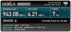 Veja meu resultado do Ookla Speedtest. Qual é a sua velocidade? #speedtest