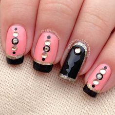 Dainty Nails: When cotton candy meets black & gold......