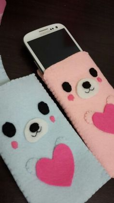 Felt cute bear phone cases