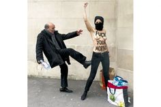 """""""Fuck your morals."""" A man kicks a topless activist of the Ukrainian feminist movement Femen as she raises her fist to protest against Islamists in front of the Great Mosque of Paris Photo Rock, Feminist Movement, Spiegel Online, Atheism, George Orwell, Morals, Photojournalism, Old Women, Arab Women"""