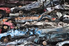 Stock Photo : Crushed cars in a scrapyard