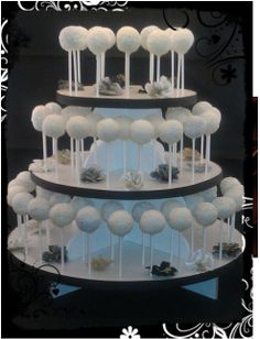 Black and white wedding cake pops stand!