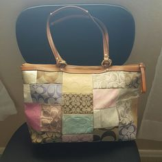 """Coach patchwork bag Bag has wear on some of the patches from over use over the years, see pics. Dimensions are 10"""" tall, 16 """" long if you are measuring halfway up. And 5"""" wide. Coach Bags Shoulder Bags"""