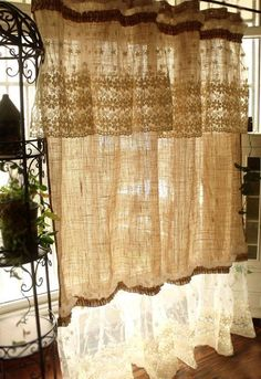 Layered SHABBY washed Rustic Chic Burlap by BetterhomeLiving - elegant decor Cortinas Country, Cortinas Shabby Chic, Shabby Chic Curtains, Rustic Curtains, Shabby Chic Bedrooms, Shabby Chic Furniture, Farmhouse Curtains, Lace Curtains, Kitchen Curtains