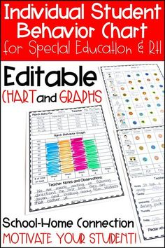 The Individual Student Behavior Chart is perfect to use as a classroom management tool for Special Education and RTI - Response To Intervention. Teachers can use the editable template to best fit the needs of their student. The chart provides a school and