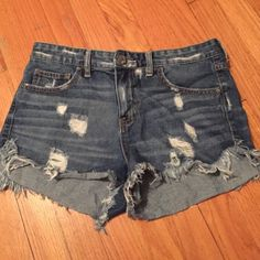 Free people high waist denim distressed shorts Free people high waist distressed denim shorts. These aren't super high waisted. Very comfortable Free People Shorts Jean Shorts